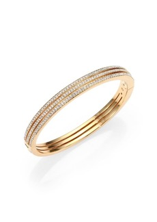 Adriana Orsini Pavé Crystal Three-Row Bangle Bracelet/Goldtone