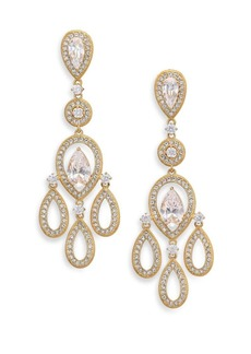 Adriana Orsini Pavé Pear Chandelier Earrings/Goldtone