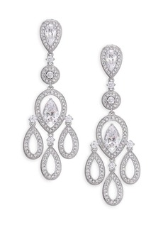 Adriana Orsini Pavé Pear Chandelier Earrings/Silvertone