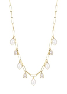Adriana Orsini Alexandria 18K Yellow Goldplated Sterling Silver, 7.5-8MM White Rice Fereshwater Pearl & Cubic Zirconia Necklace