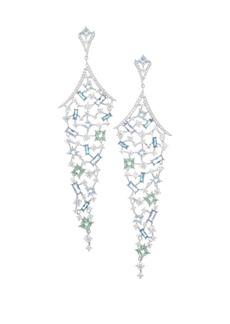 Adriana Orsini Azure Colored Crystal Long Chandelier Earrings