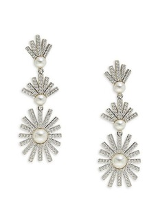 Adriana Orsini Cubic Zirconia & 3-5MM Pearl Drop Earrings