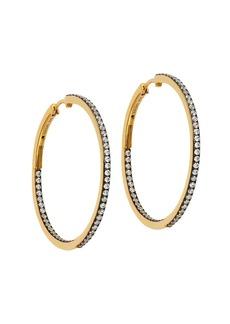 Adriana Orsini Edgy Black Ruthenium-Plated & 18K Goldplated Sterling Silver Pavé Inside/Outside Hoop Earrings