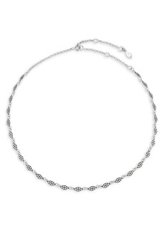 Adriana Orsini Edgy Rhodium and Black Ruthenium-Plated Sterling Silver & Cubic Zirconia Teardrop-Link Collar Necklace