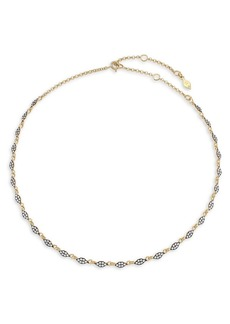 Adriana Orsini Edgy Rhodium, Black Ruthenium-Plated and 18K Goldplated Sterling Silver & Cubic Zirconia Teardrop-Link Collar Necklace