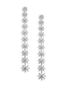 Holiday Ear Crystal Petal Drop Earrings