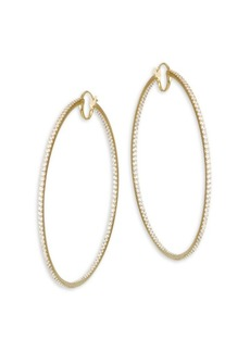 Adriana Orsini Large Hinged Cubic Zirconia Oval Hoop Earrings