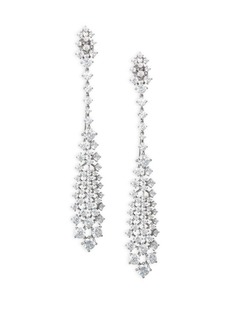 Adriana Orsini Leia Rhodium Plated Swarovski Crystal Linear Drop Earrings