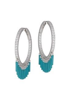 Adriana Orsini Linxy Sterling Silver & Cubic Zirconia Blue Fringe Hoop Earrings
