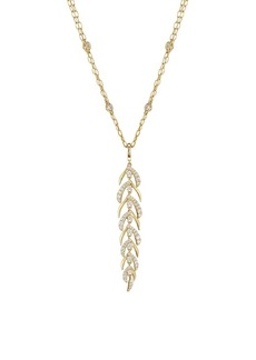 Adriana Orsini Naturally 18K Yellow Goldplated Sterling Silver & Cubic Zirconia Feather Pendant Necklace