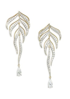 Adriana Orsini Pirouette Goldtone Crystal Leaf Drop Earrings