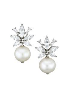 Adriana Orsini Rhodium-Plated, 10-11MM Pearl & Cubic Zirconia Flower Drop Earrings