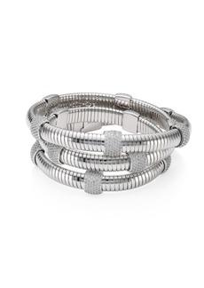 Adriana Orsini Rhodium-Plated Pavé Station Wrap Bracelet
