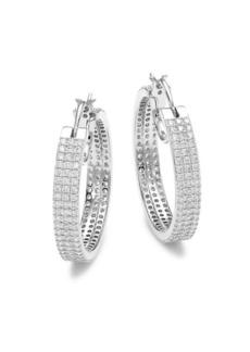 Adriana Orsini Silvertone & Cubic Zirconia Pavé Medium Hoop Earrings