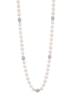 Adriana Orsini Tahiti Long Pearl & Crystal Strand Necklace