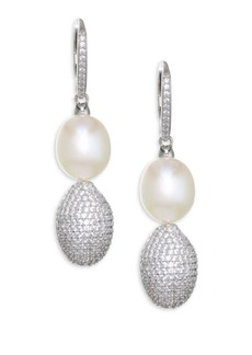 Adriana Orsini Tahiti White Pearl & Crystal Ball Drop Earrings