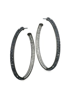 Adriana Orsini Two-Tone Pave Swarovski Crystal Hoop Earrings/1.5''