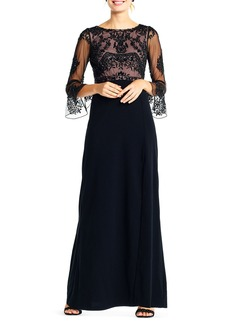 Adrianna Papell 3/4-Sleeve Beaded-Bodice Gown