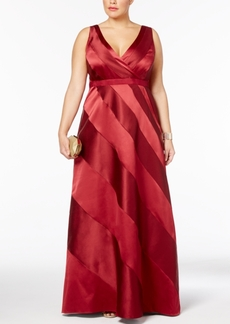 Adrianna Papell Plus Size Satin Striped Ball Gown