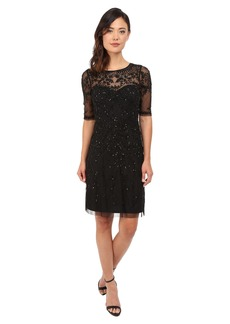 Adrianna Papell 3/4 Sleeve Fully Beaded Cocktail Dress