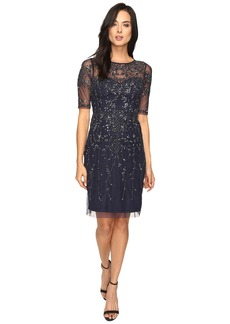 Adrianna Papell 3/4 Sleeve Fully Beaded Cocktail Dress
