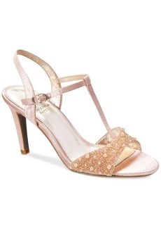 Adrianna Papell Alia T-Strap Beaded Evening Sandals Women's Shoes