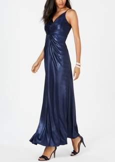 Adrianna Papell Allover Metallic Knotted Gown