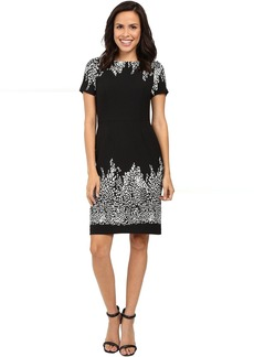 Adrianna Papell Animal and Lace Printed Blocked Sheath Dress