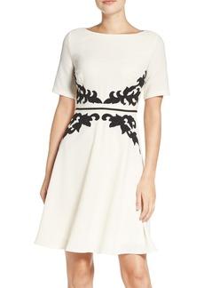 Adrianna Papell Appliqué Waist Crepe Fit & Flare Dress