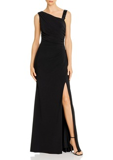 Adrianna Papell Asymmetric Shirred Gown