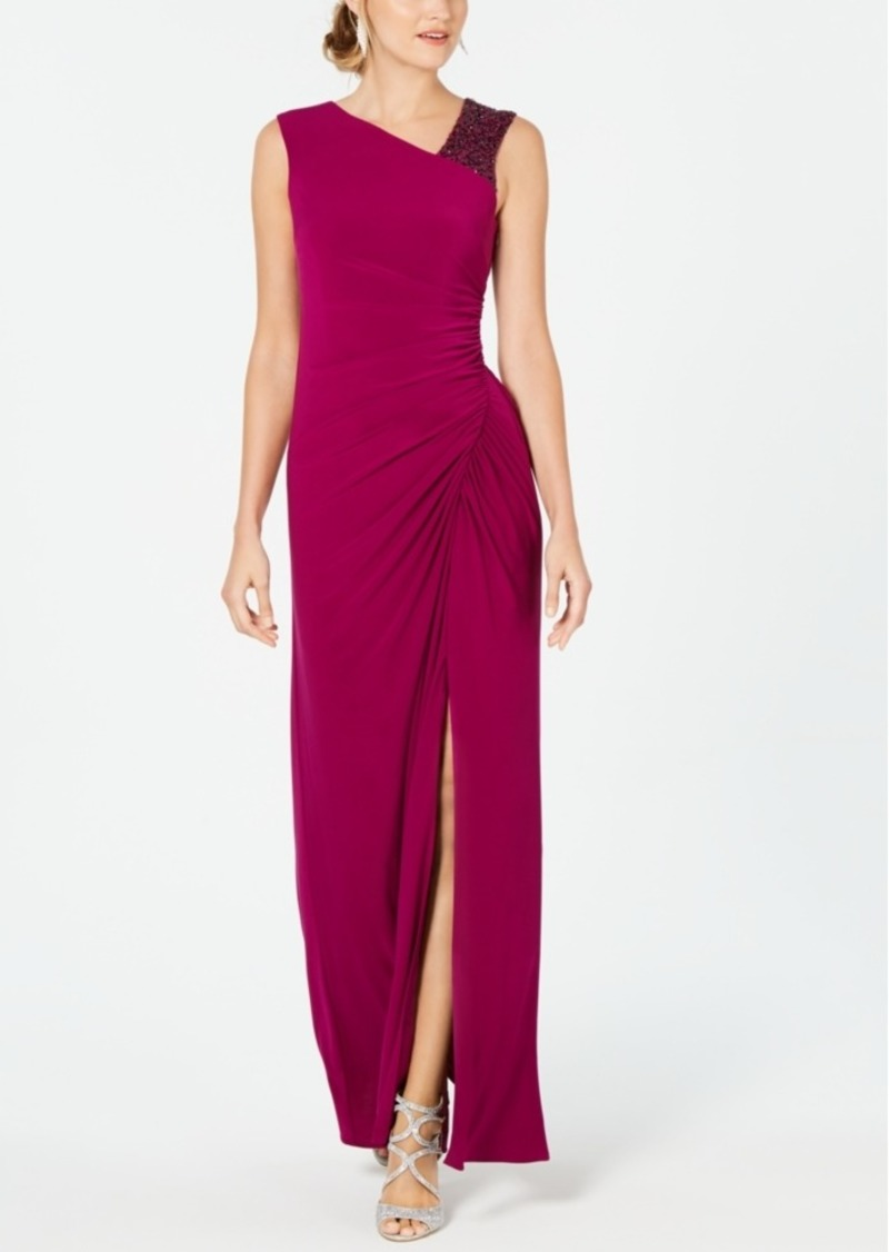 Adrianna Papell Asymmetrical Embellished Gown