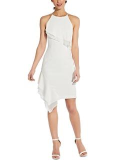 Adrianna Papell Asymmetrical-hem Halter Midi Dress