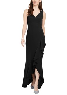 Adrianna Papell Asymmetrical Ruffle Gown