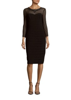 Adrianna Papell Banded Illusion Neck Sheath Dress