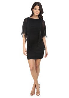 Adrianna Papell Banded Illusion Sleeve Flutter Dress