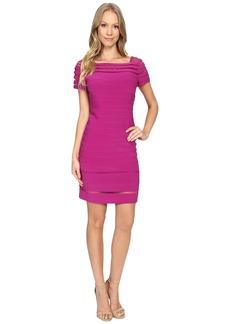 Adrianna Papell Bateau Neck Dress w/ Gradiating Seams