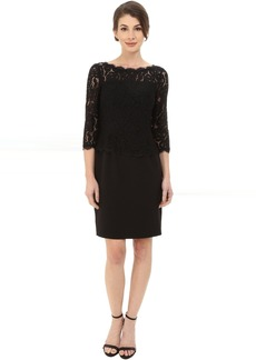 Adrianna Papell Bateau Neck Long Sleeve Lace Overlay