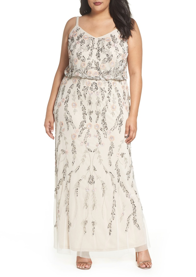 Adrianna Papell Adrianna Papell Beaded Blouson Gown (Plus Size ...
