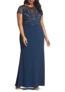 Adrianna Papell Beaded Bodice Crepe Gown (Plus Size)
