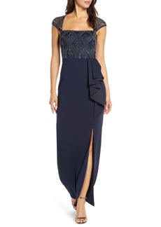 Adrianna Papell Beaded Bodice Evening Gown