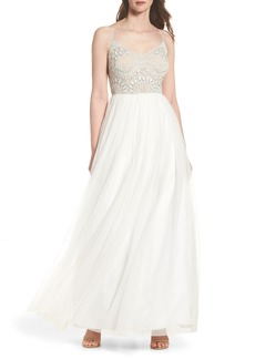 Adrianna Papell Beaded Bodice Mesh Fit & Flare Gown