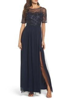 Adrianna Papell Beaded Bodice Mesh Gown (Regular & Petite)