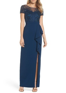 Adrianna Papell Beaded Bodice Ruffle Gown