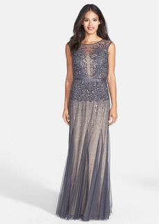 Adrianna Papell Beaded Chiffon Gown (Regular & Petite)
