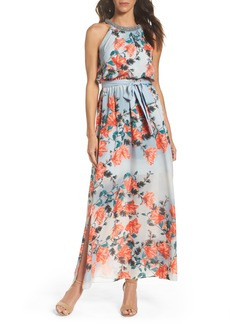 Adrianna Papell Beaded Chiffon Maxi Dress