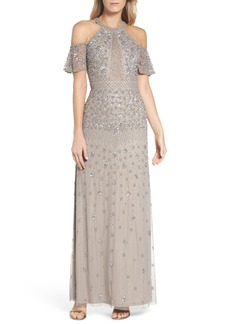Adrianna Papell Beaded Cold Shoulder Gown