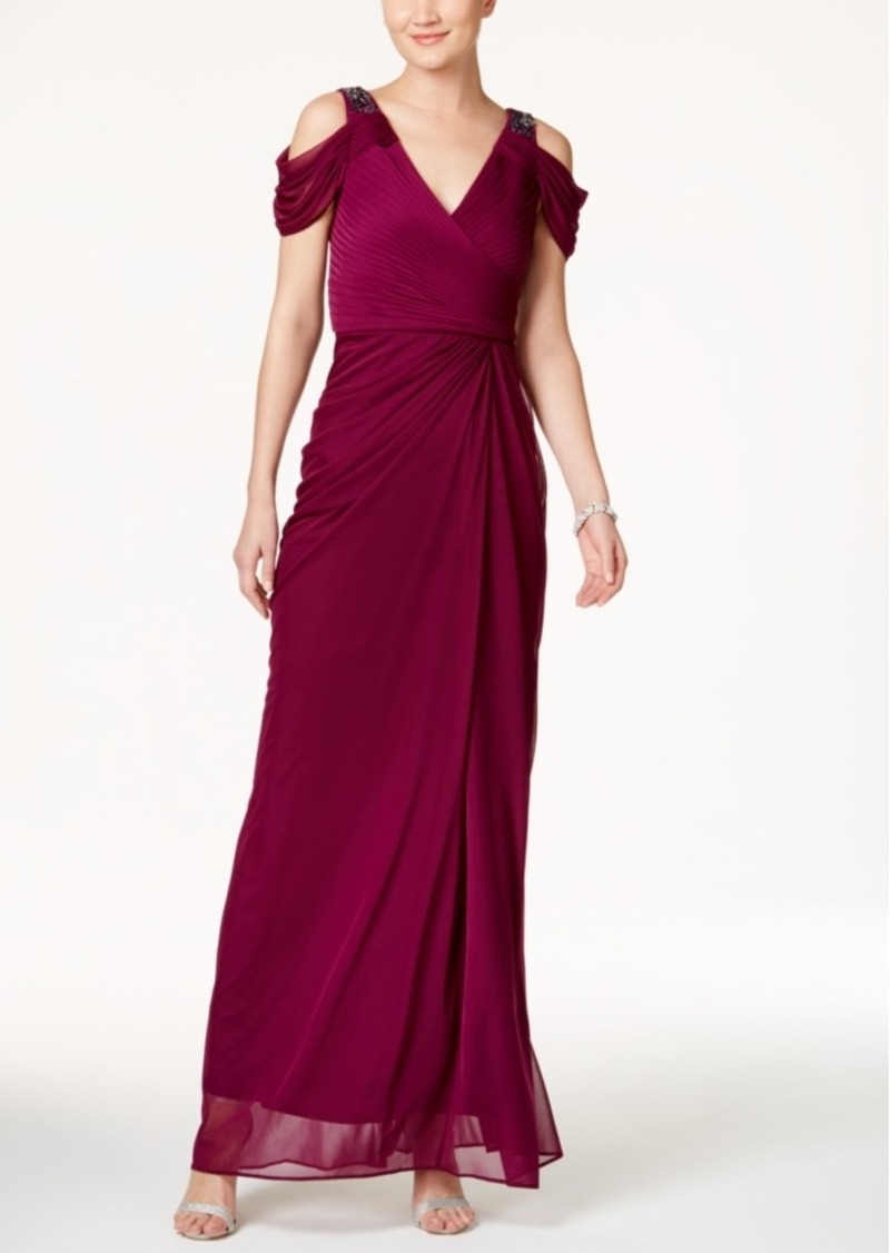 Adrianna Papell Beaded Cold-Shoulder Gown