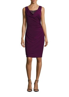 Adrianna Papell Beaded Cowlneck Dress