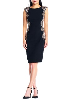 Adrianna Papell Beaded Crepe Sheath Dress