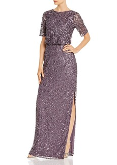 Adrianna Papell Beaded Floor-Length Gown